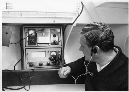 Christina May 1960 - Bruce Campbell tests the onboard Radio set