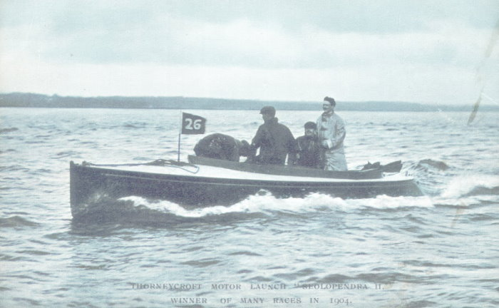 "Thornycroft motor launch ""Seolopendra II"", Winner of many races in 1904"