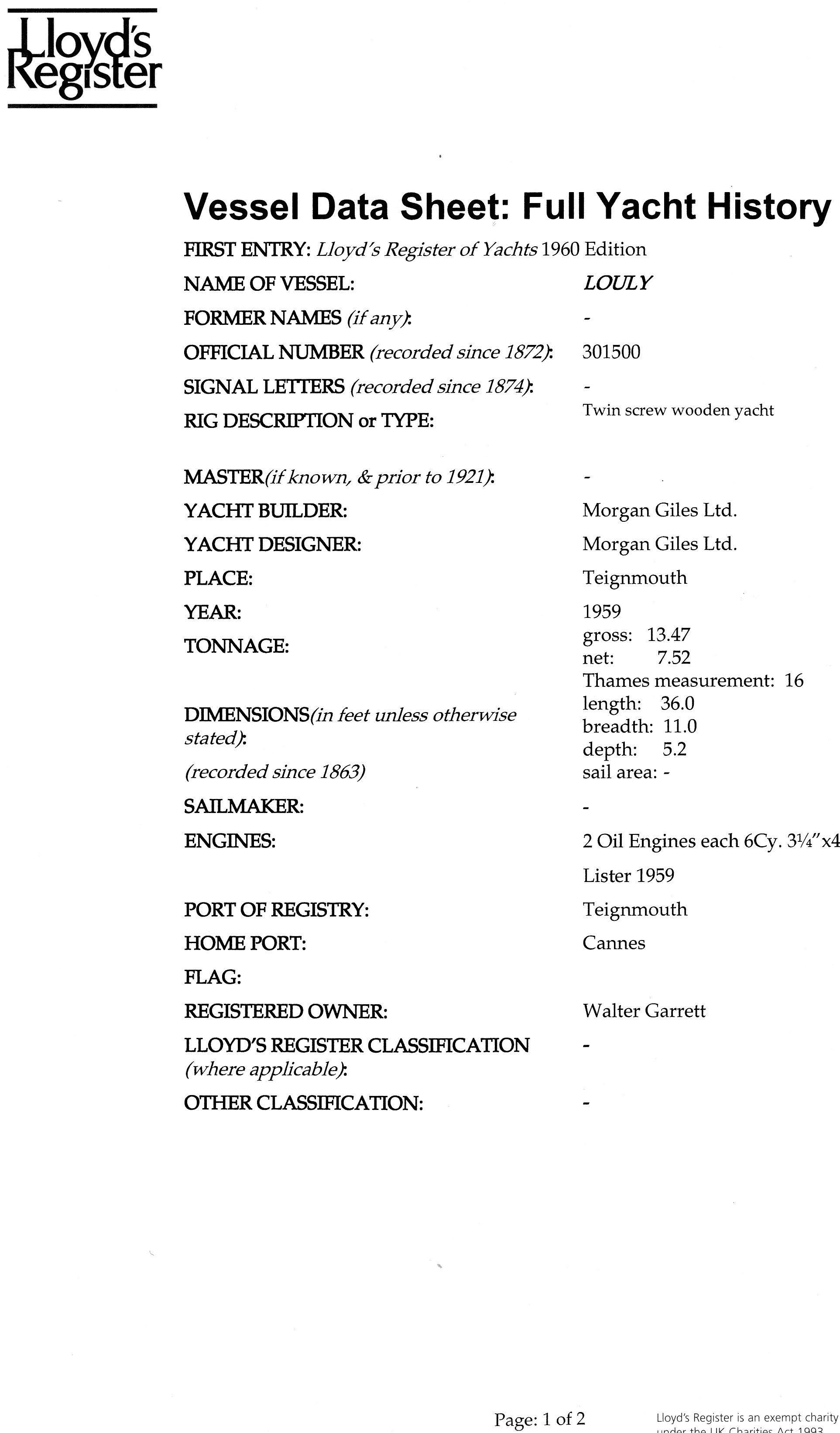 Monaco - Louly - Lloyd's Register Vessel Data Sheet page 1